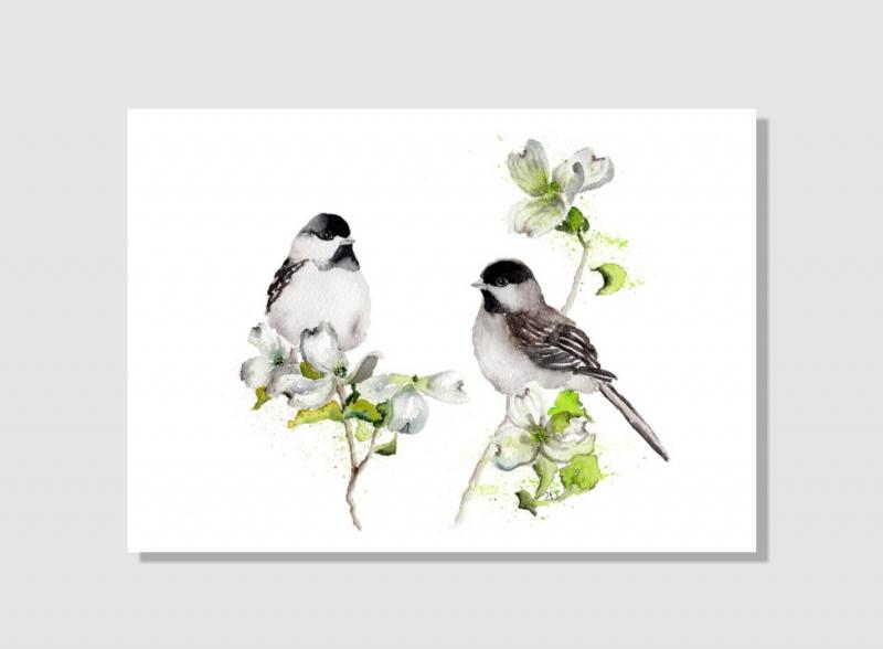 Kleinesbild - Fine Art Print des handgemalten Aquarells , Zwei Tannenmeisen