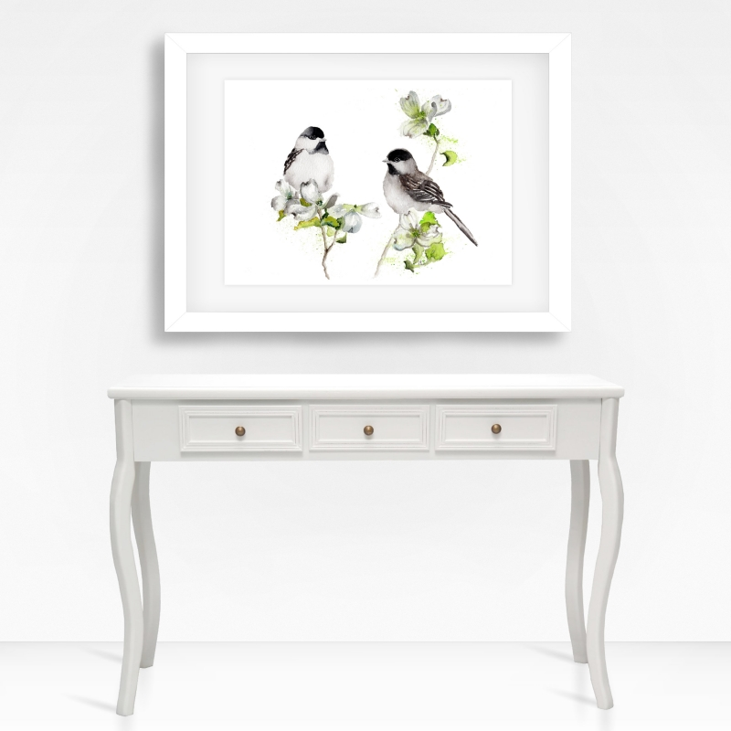 - Fine Art Print des handgemalten Aquarells , Zwei Tannenmeisen - Fine Art Print des handgemalten Aquarells , Zwei Tannenmeisen