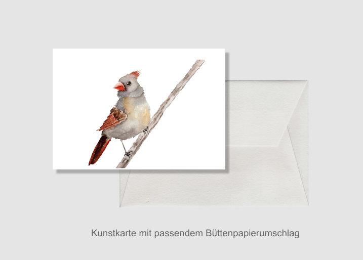 - Kunstkarte incl. Büttenumschlag Fine Art Print des Aquarelles, Rotschnabel - Kunstkarte incl. Büttenumschlag Fine Art Print des Aquarelles, Rotschnabel