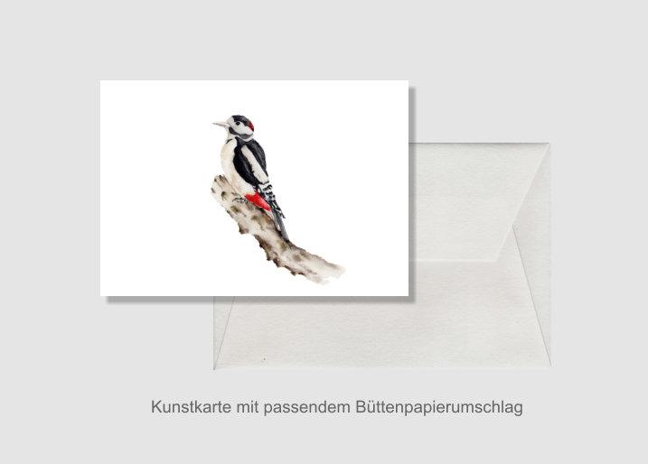 - Kunstkarte incl. Büttenumschlag Fine Art Print des Aquarelles, Buntspecht - Kunstkarte incl. Büttenumschlag Fine Art Print des Aquarelles, Buntspecht