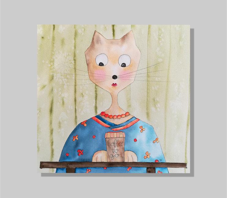 - Kaffeekatze, aquarellierte Kunstpostkarte mit Glanzlack und Umschlag in rot, 14,8x14,8cm - Kaffeekatze, aquarellierte Kunstpostkarte mit Glanzlack und Umschlag in rot, 14,8x14,8cm