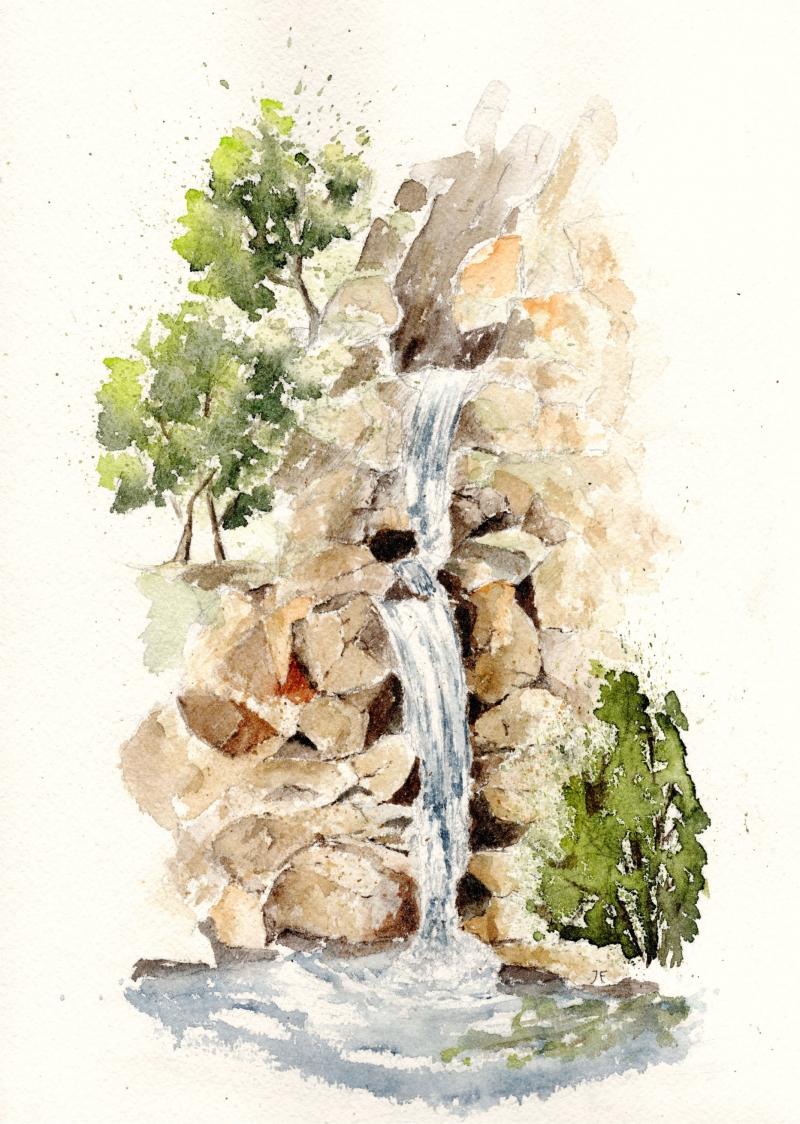 Kleinesbild - Wasserfall, Fine Art Print vom Originalen Aquarell