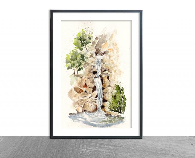- Wasserfall, Fine Art Print vom Originalen Aquarell  - Wasserfall, Fine Art Print vom Originalen Aquarell