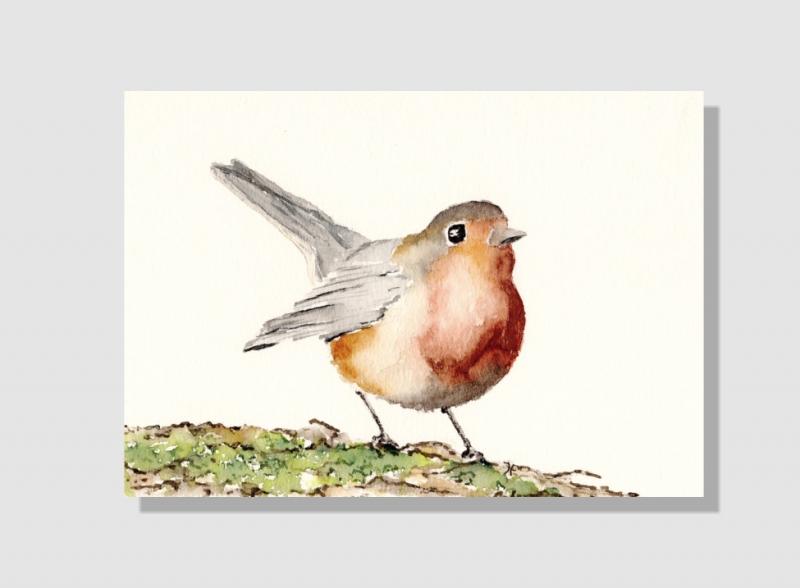 Kleinesbild - Fine Art Print des handgemalten Aquarells , Rotkehlchen
