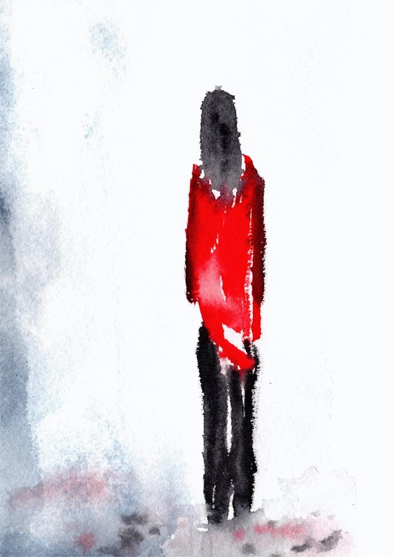Kleinesbild - Fine Art Print des Original-Aquarells, Frau mit roter Jacke, in verschiedenen Größen erhältlich