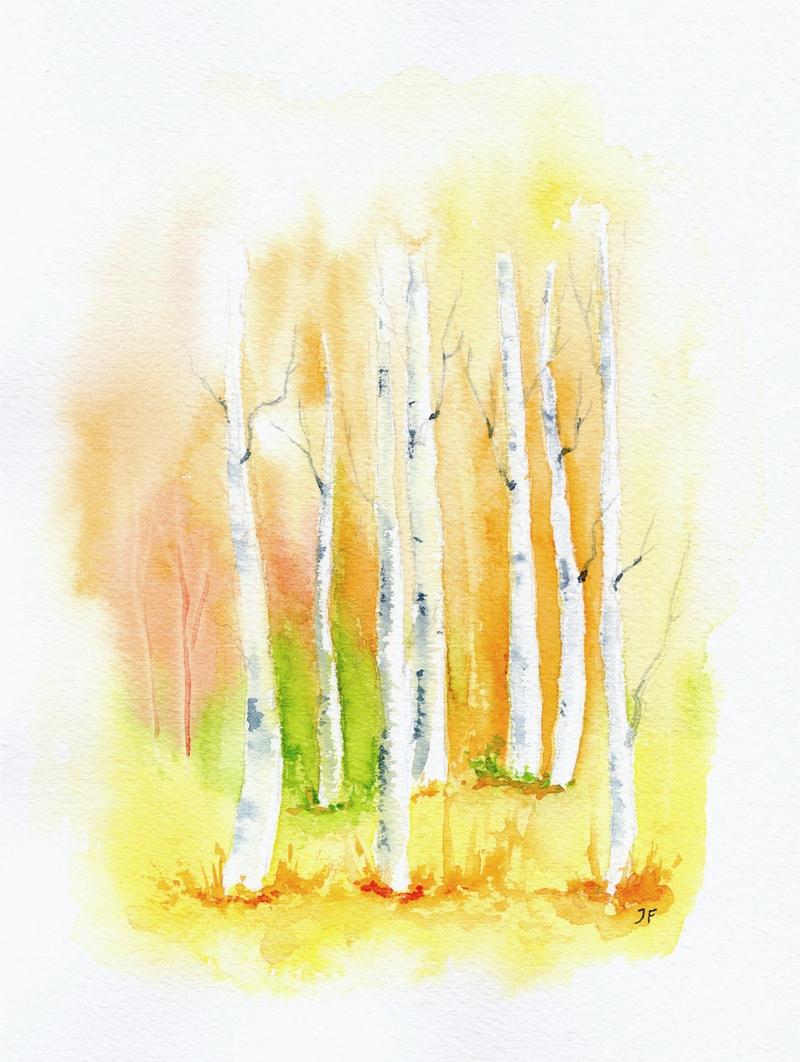 Kleinesbild - Birkenwald, Fine Art Print vom Originalen Aquarell