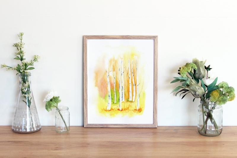 Kleinesbild - Landschaft mit Mohnblumen , Fine Art Print vom Originalen Aquarell
