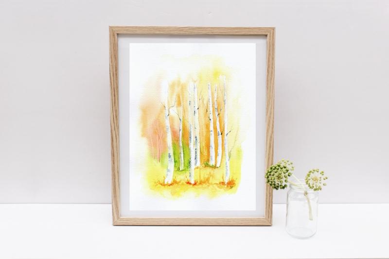 - Birkenwald, Fine Art Print vom Originalen Aquarell - Birkenwald, Fine Art Print vom Originalen Aquarell