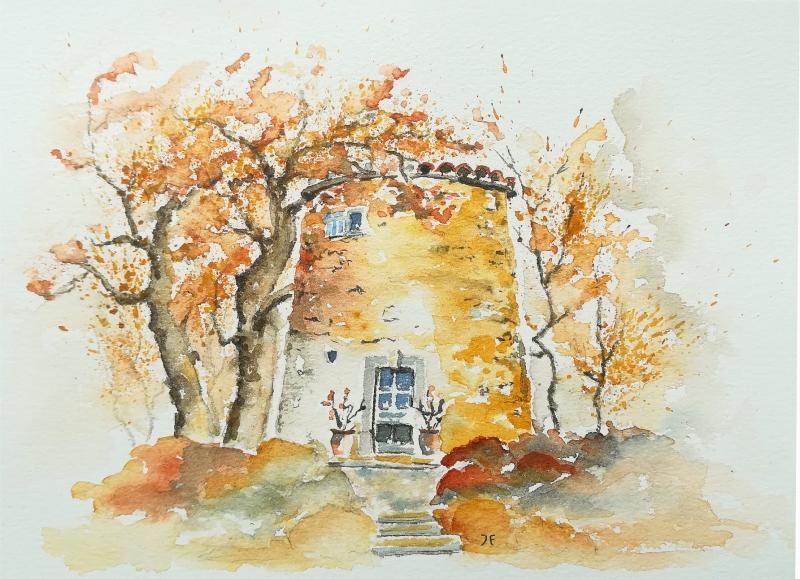 Kleinesbild - Alte Mühle in der Provence, Fine Art Print vom Originalen Aquarell