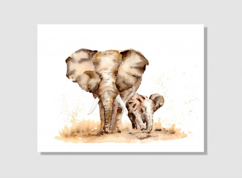 Kleinesbild - Kunstkarte incl. Büttenumschlag Fine Art Print des Aquarelles, Elefanten