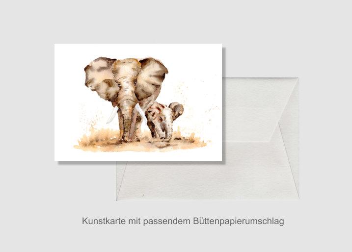 - Kunstkarte incl. Büttenumschlag Fine Art Print des Aquarelles, Elefanten - Kunstkarte incl. Büttenumschlag Fine Art Print des Aquarelles, Elefanten