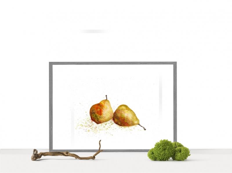 Kleinesbild - Fine Art Print vom Original-Aquarell Birnen, in verschiedenen Größen erhältlich