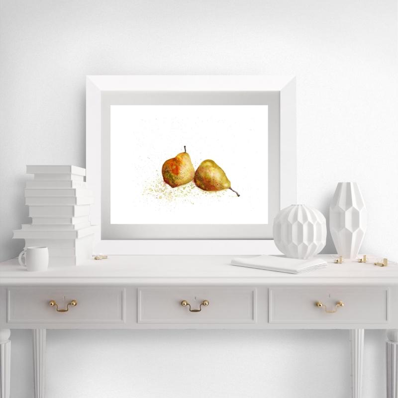 - Fine Art Print vom Original-Aquarell Birnen, in verschiedenen Größen erhältlich  - Fine Art Print vom Original-Aquarell Birnen, in verschiedenen Größen erhältlich