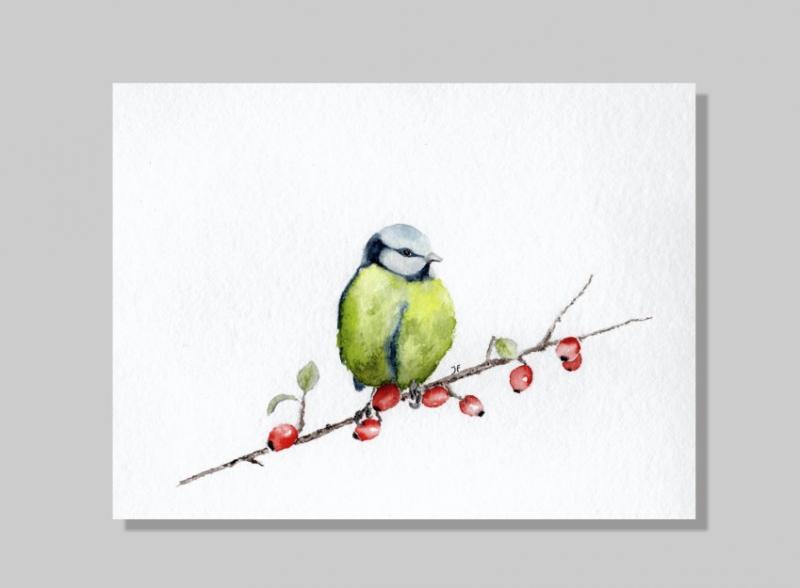 Kleinesbild - Fine Art Print des handgemalten Aquarells , Meise