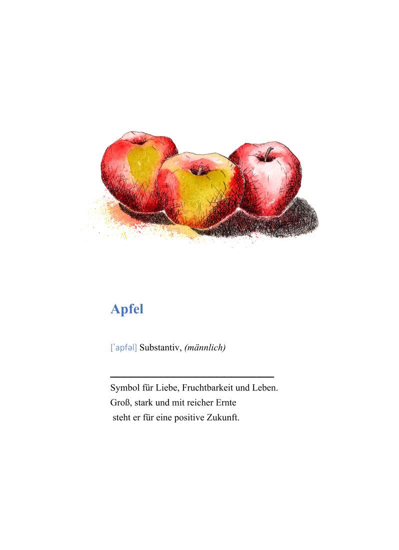 Kleinesbild - Wanddekoration Poster Äpfel mit Definition, hochwertiger Kunstdruck A4
