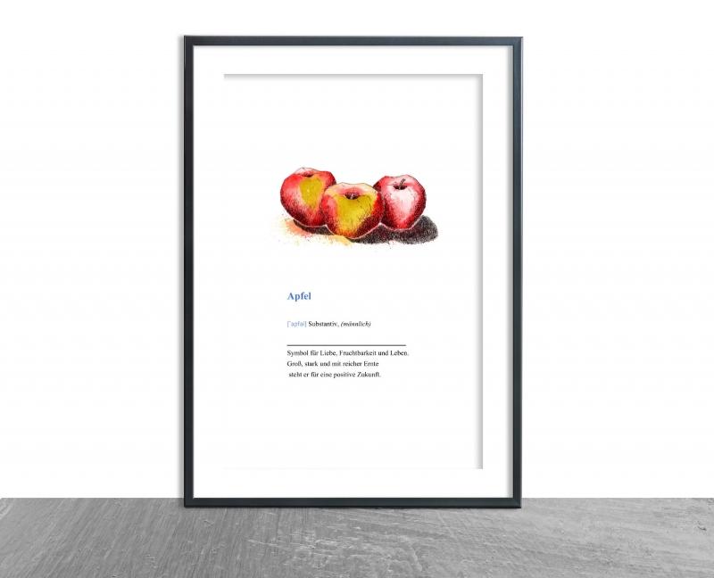 - Wanddekoration Poster Äpfel mit Definition, hochwertiger Kunstdruck A4 - Wanddekoration Poster Äpfel mit Definition, hochwertiger Kunstdruck A4