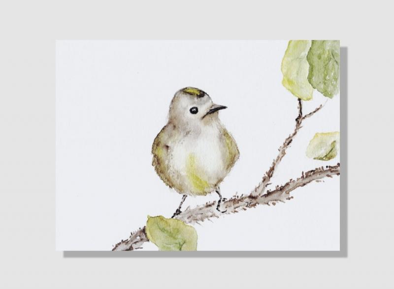 Kleinesbild - Kunstkarte incl. Büttenumschlag Fine Art Print des Aquarelles, kleiner Spatz