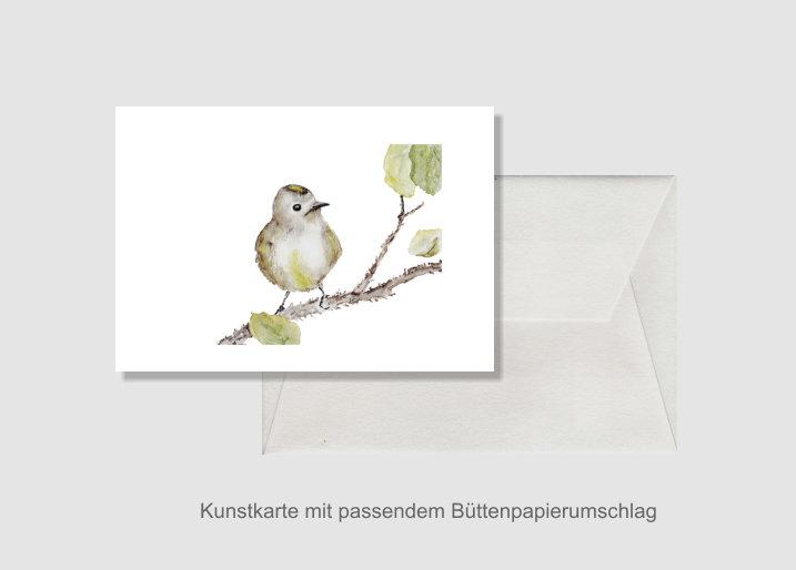 - Kunstkarte incl. Büttenumschlag Fine Art Print des Aquarelles, kleiner Spatz - Kunstkarte incl. Büttenumschlag Fine Art Print des Aquarelles, kleiner Spatz