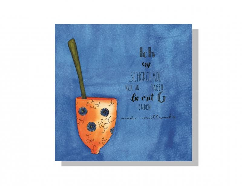 Kleinesbild - Aquarellierte Kunstpostkarte mit  Glanzlack beschichtet incl. Briefumschlag , Handlettering