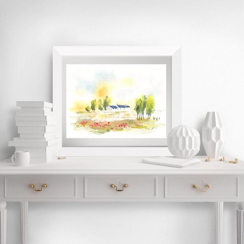 - Landschaft mit Mohnblumen , Fine Art Print vom Originalen Aquarell - Landschaft mit Mohnblumen , Fine Art Print vom Originalen Aquarell