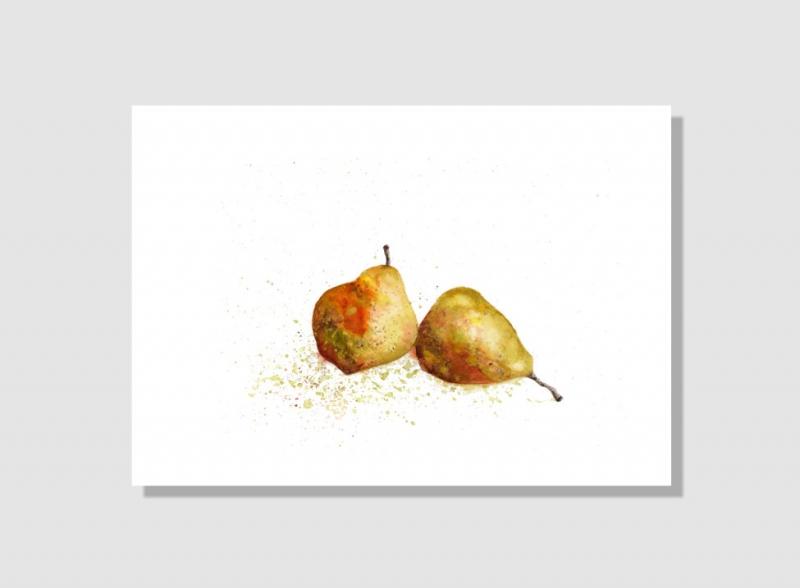 Kleinesbild - Kunstkarte incl. Büttenumschlag Fine Art Print des Aquarelles, Birnen
