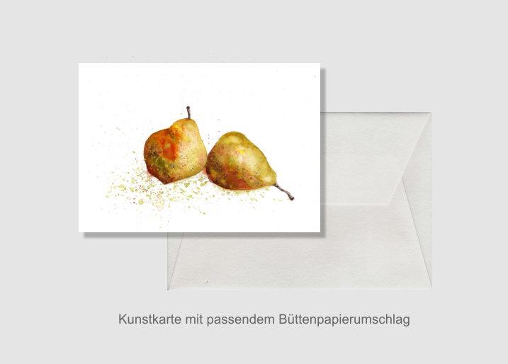 - Kunstkarte incl. Büttenumschlag Fine Art Print des Aquarelles, Birnen - Kunstkarte incl. Büttenumschlag Fine Art Print des Aquarelles, Birnen