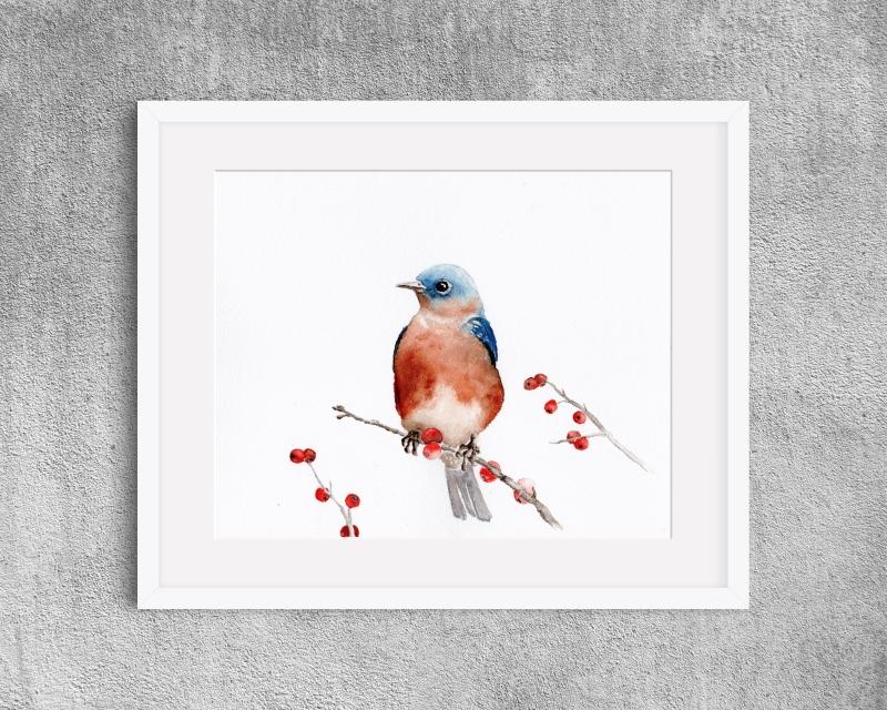 - Fine Art Print des handgemalten Aquarells , Vogel mit Beeren - Fine Art Print des handgemalten Aquarells , Vogel mit Beeren