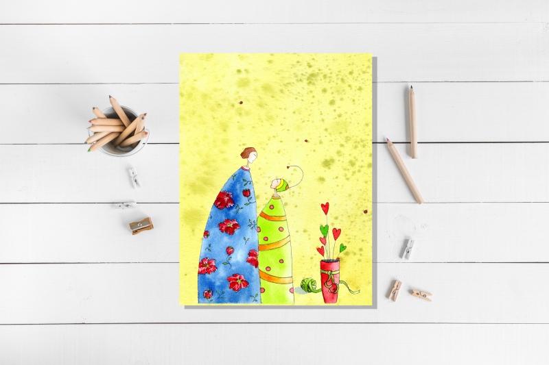 Kleinesbild - Drei Kunstkarten incl. Umschlag, Frauenkarten, Künstlerpostkarten mit partiellem Lack