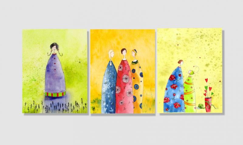 - Drei Kunstkarten incl. Umschlag, Frauenkarten, Künstlerpostkarten mit partiellem Lack - Drei Kunstkarten incl. Umschlag, Frauenkarten, Künstlerpostkarten mit partiellem Lack