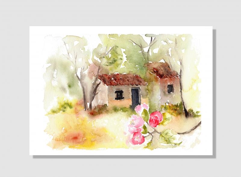 Kleinesbild - Kunstkarte incl. Büttenumschlag Fine Art Print des Aquarelles, Apfelblüte in der Provence