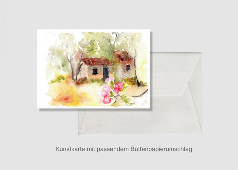- Kunstkarte incl. Büttenumschlag Fine Art Print des Aquarelles, Apfelblüte in der Provence - Kunstkarte incl. Büttenumschlag Fine Art Print des Aquarelles, Apfelblüte in der Provence