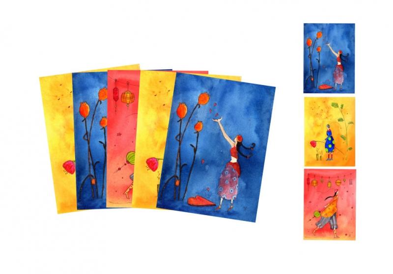 - Fünf Kunstkarten incl. Umschlag, Frauenkarten, Künstlerpostkarten mit partiellem Lack gemischt - Fünf Kunstkarten incl. Umschlag, Frauenkarten, Künstlerpostkarten mit partiellem Lack gemischt
