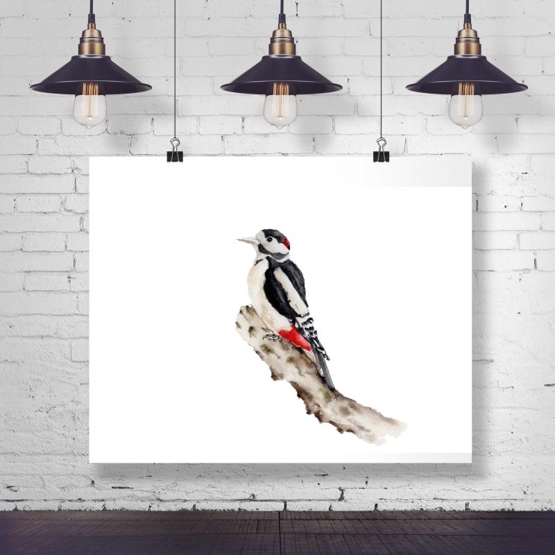 - Fine Art Print des handgemalten Aquarells, Buntspecht - Fine Art Print des handgemalten Aquarells, Buntspecht
