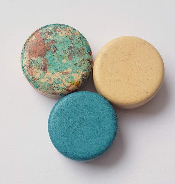 - 3 Keramikperlen Disc Scheibe PB Farbenset 28 - 3 Keramikperlen Disc Scheibe PB Farbenset 28