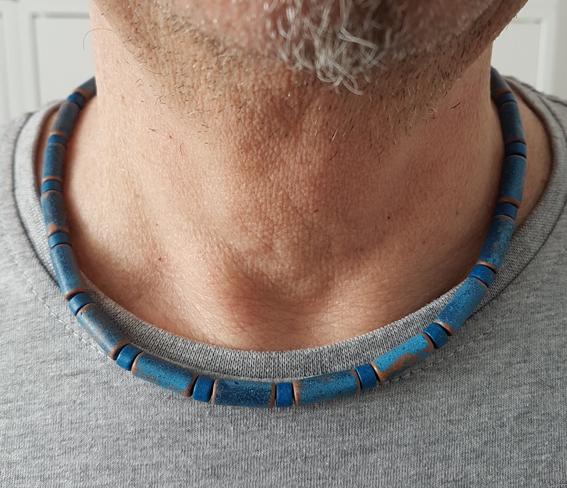 Kleinesbild - Männerkette Herrenkette Surferkette Keramikkette kurz ravelblau-royalblau