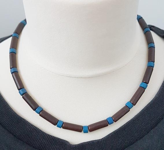Kleinesbild - Männerkette Herrenkette Surferkette Keramikkette kurz dunkelbraun-royalblau