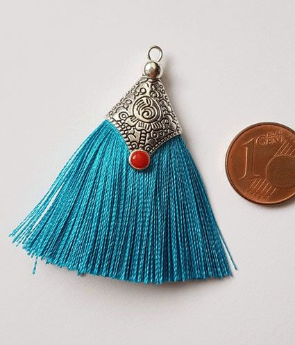 Kleinesbild - 2 Tasseln Quasten Tibet mit Metalleinfassung türkisblau