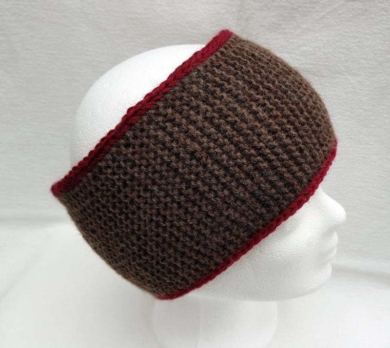 Kleinesbild - Stirnband gestrickt gefüttert braun-dunkelrot für Herren Wolle Fleece kaufen