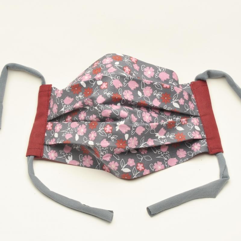 Kleinesbild - Mund-Nasen-Maske Baumwolle zweilagig haltbar gute Passform ohne Gummi und Draht