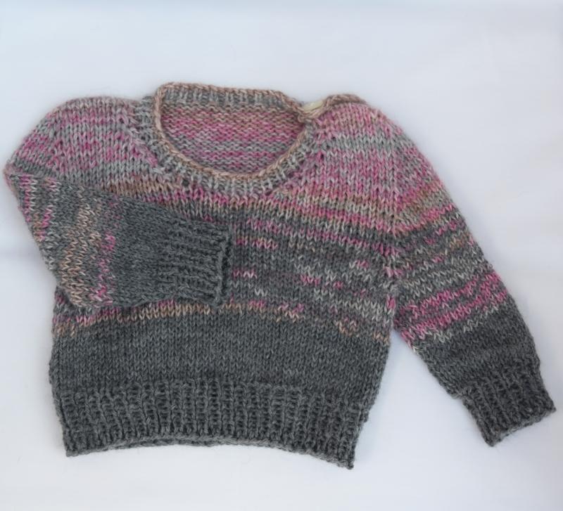 - Babypullover Gr. 62 Mädchen rosa-grau handgestrickt Wolle  - Babypullover Gr. 62 Mädchen rosa-grau handgestrickt Wolle
