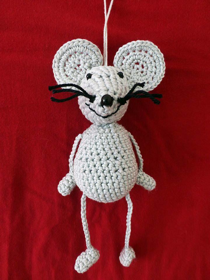 - Amigurumi - Gehäkelte Graue Maus als Taschenbaumler - Amigurumi - Gehäkelte Graue Maus als Taschenbaumler