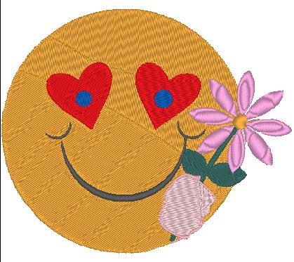 - Stickdatei Smiley mit Blume zum Valentinstag 128 x 107 mm - Stickdatei Smiley mit Blume zum Valentinstag 128 x 107 mm