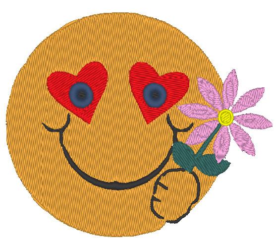 - Stickdatei Smiley mit Blume zum Valentinstag 90 x 70 mm - Stickdatei Smiley mit Blume zum Valentinstag 90 x 70 mm