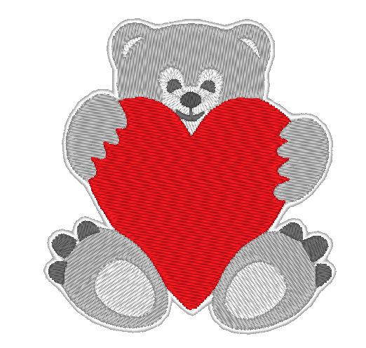 - Stickdatei Bär mit Herz zum Valentinstag  70 x 90 mm - Stickdatei Bär mit Herz zum Valentinstag  70 x 90 mm