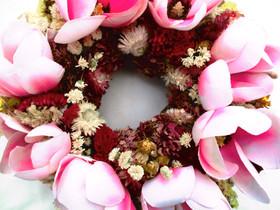 Kleinesbild - Naturkranz mit Magnolien und Eidose, Ø 26cm
