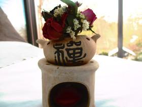 Kleinesbild - China Teelichthalter mit kleinem Sträoßchen, 13cm