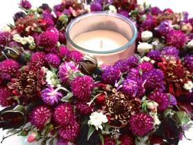 Kleinesbild - Rosenkranz mit Amaranth Blumen, 22cm