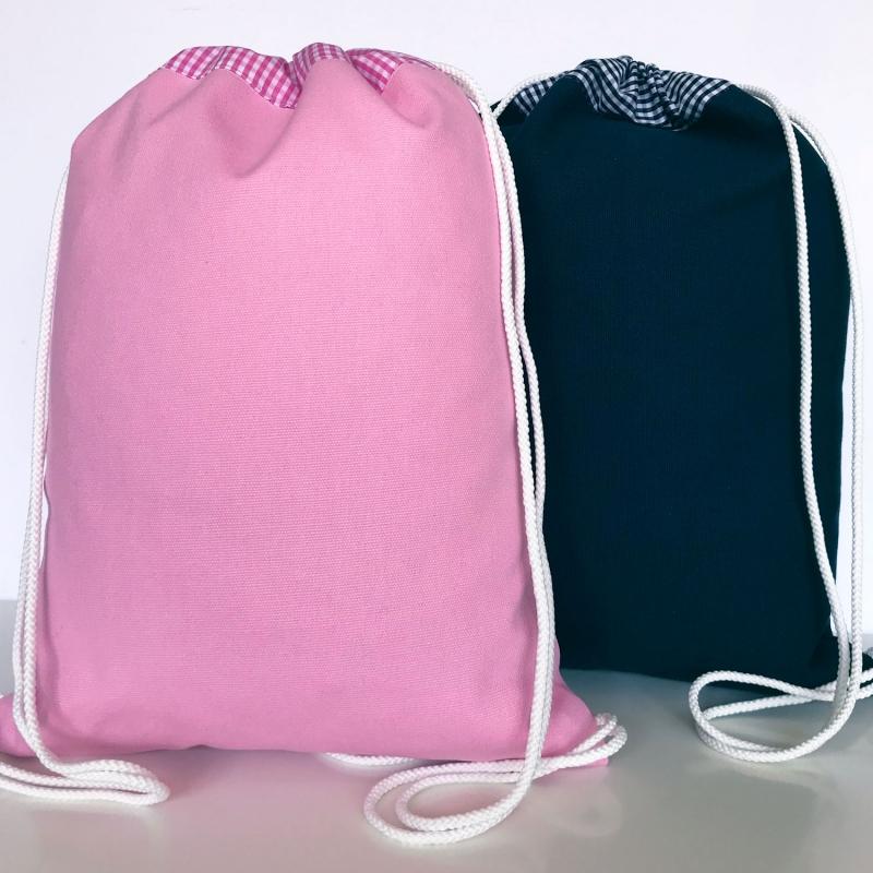 Kleinesbild - Sportbeutel Turnbeutel zum Weiterverarbeiten z.B. Benähen und Besticken rosa