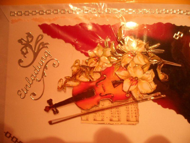 - Einladung zum Konzert?, Oper? usw. da liegst du mit der Geige und den Blumen gerade richtig. Bis 6 Karten Portogebühren 1,45€  - Einladung zum Konzert?, Oper? usw. da liegst du mit der Geige und den Blumen gerade richtig. Bis 6 Karten Portogebühren 1,45€