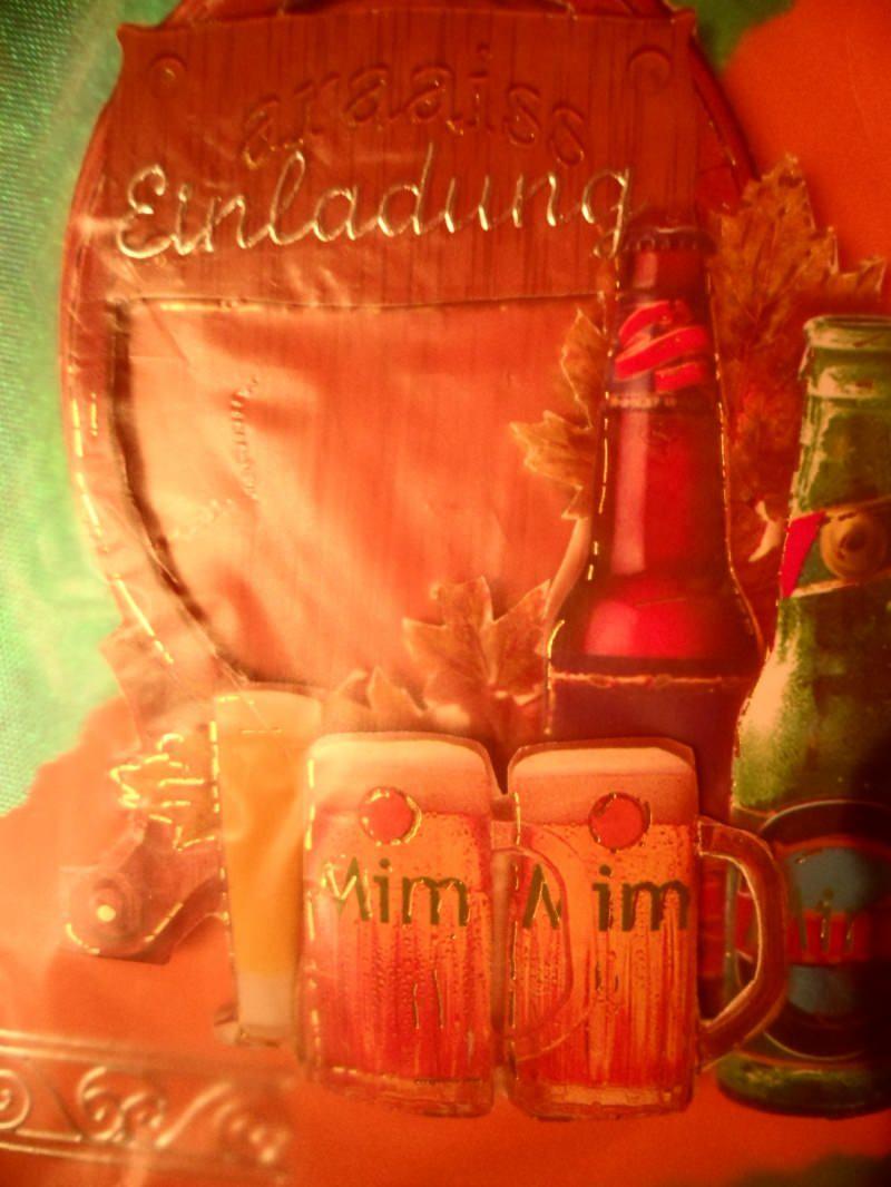 Kleinesbild -  Bier Einladungskarte zum Oktoberfest, zum Fußball, zum Kneipenbummel oder was auch immer einladen. Bis 6 Karten Portogebühren 1,45€